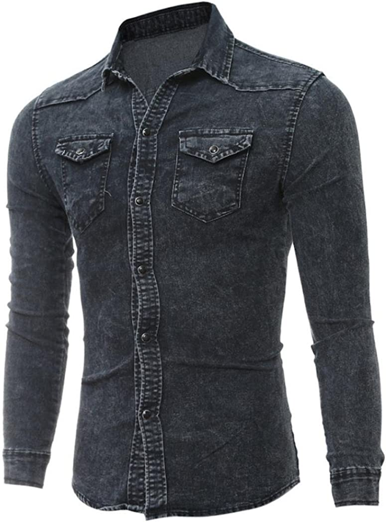 Men Retro Fold Shoulder Pocket Decorate Long Sleeve Denim Shirts Jeans Blouse BE