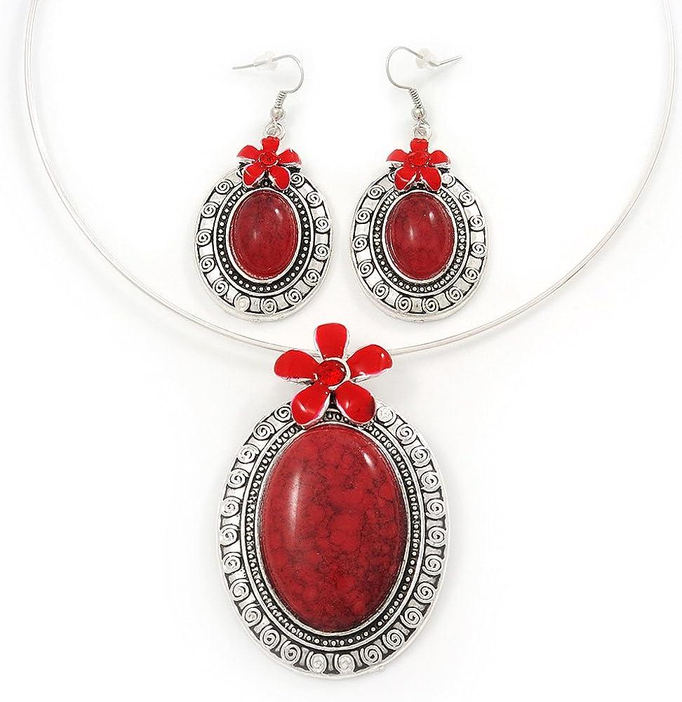 Avalaya - Juego de collar y pendientes ovalados con medallón ovalado de color rojo coral grande y chapado en plata, ajustable