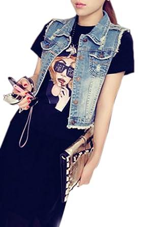 15cc5ddceedd09 yulinge Women Summer Casual Sleeveless Denim Jacket Button up Vests   Amazon.co.uk  Clothing