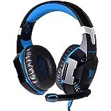 Andoer CHAQUE G2000 cours de l'oreille jeu Gaming Casque écouteur avec microphone stéréo subwoofer bandeau LED lumière pour PC Game (Bleu(1))