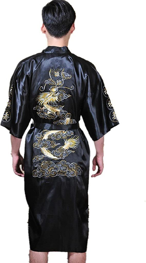 Shanghai Story Men's Robe Dragon Pattern Bathrobe with Waistband 5 Colors