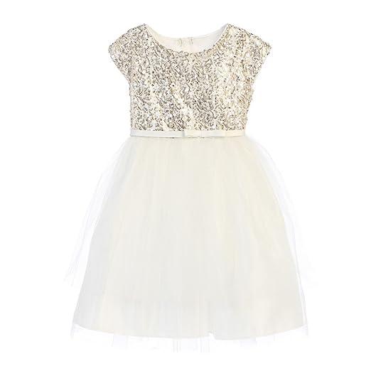 c7da390c Sweet Kids Little Girls Off-White Sequin Top Overlaid Occasion Dress 3T