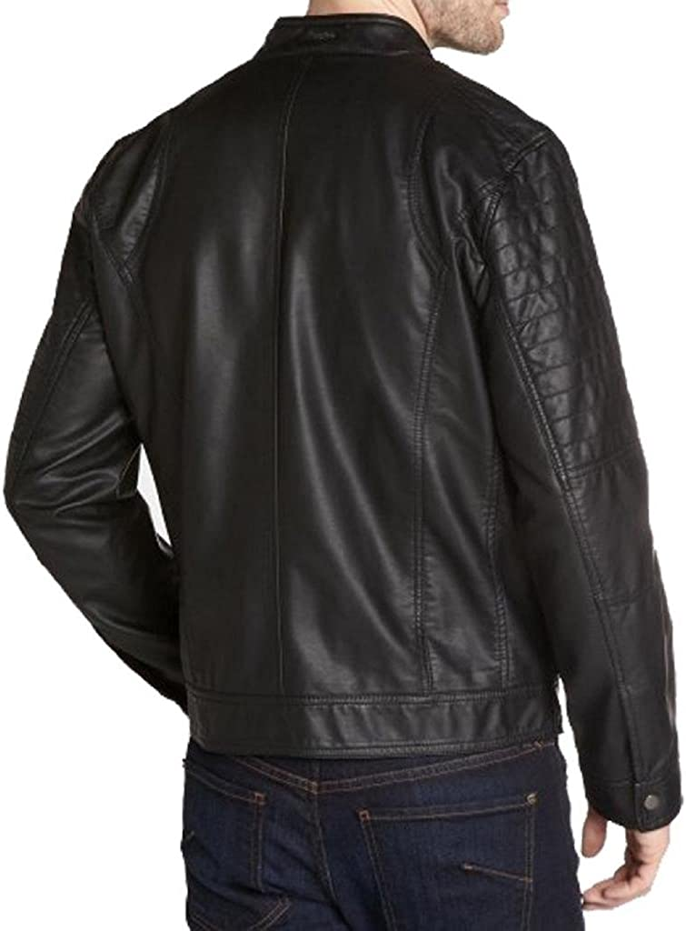Mens New Black Genuine Cow-Hide Leather Stylish Motorcycle Jacket C263