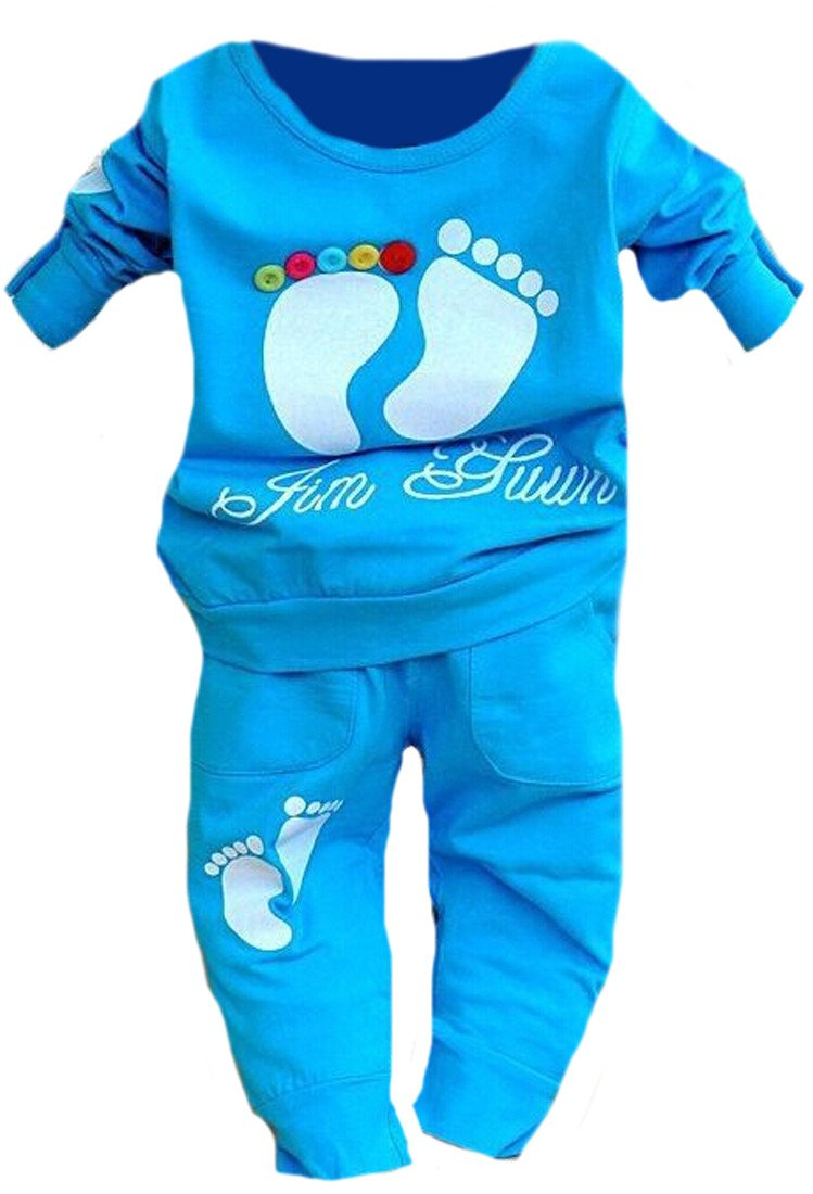 Generic Little Boy 2pcs Printed Long Sleeve T-shirt and Pants Set blue 18-24m