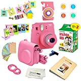 Fujifilm Instax Mini 9 Instant Camera – FLAMINGO PINK + Fuji INSTAX Film (20 Exposures) + Multifarious Instax Accessory Kit BUNDLE Includes; Case/Strap & Album + Fun Frames/Stickers/Lenses + MORE