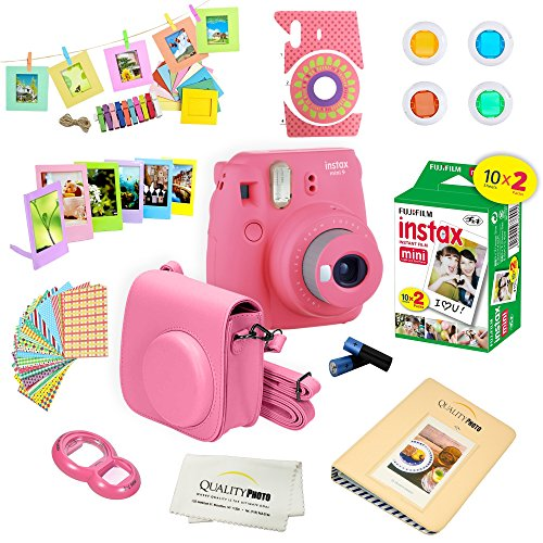 Fujifilm Instax Mini 9 Camera + Fuji INSTAX Instant Film (20 SHEETS) + 14 PC Instax Accessories kit Bundle, Includes; Instax Case + Album + Frames & Stickers + Lens Filters + MORE (Flamingo Pink) by Quality photo