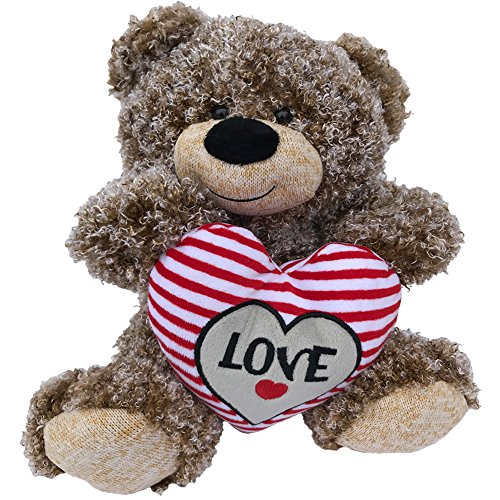 Valentines Teddy Bear Tan Curly Hair Plush with LOVE Heart - 11 inch Valentines Day Stuffed Animal - Soft Tan Brown Bear Sitting with Big Red Stitched Love Heart Perfect (Curly Teddy)