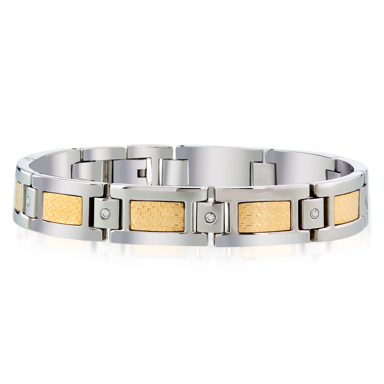 Mens Dia Bracelet in Stainless Steel and 18K Gold Accent (0.15cts, HI I2-I3)
