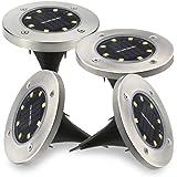 【改良版】Shome 4個セット32LEDのソーラーライト 光センサーで夜間自動点灯ライト 埋め込み式防水ライト 防犯ライト ガーデン、庭、芝生、公園に適うアウトドア用ライト【ホワイト】