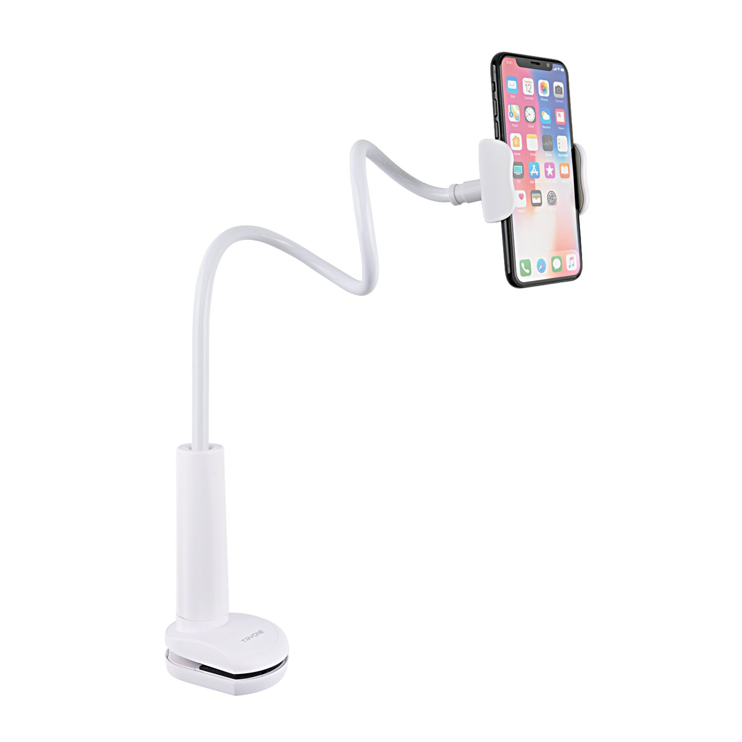 Tryone Gooseneck Phone Holder, Flexible Long Arm Mount Stand Compatible with Smartphones, Max Width 3in, Overall Length 27.5in(White) Tryone Direct