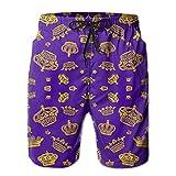 Royal Crowns - Gold On Purple Men's Swim Trunks Quick Dry Beach Shorts Beach Surfing Running Swimming Swim Shorts