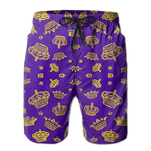 Royal Crowns - Gold On Purple Men's Swim Trunks Quick Dry Beach Shorts Beach Surfing Running Swimming Swim Shorts by Henhao5