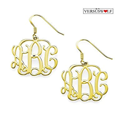 2c97c0caa Amazon.com: Personalized Gold Plated Sterling Silver Monogram Earrings  Custom Made with Any Initial For Women: Jewelry