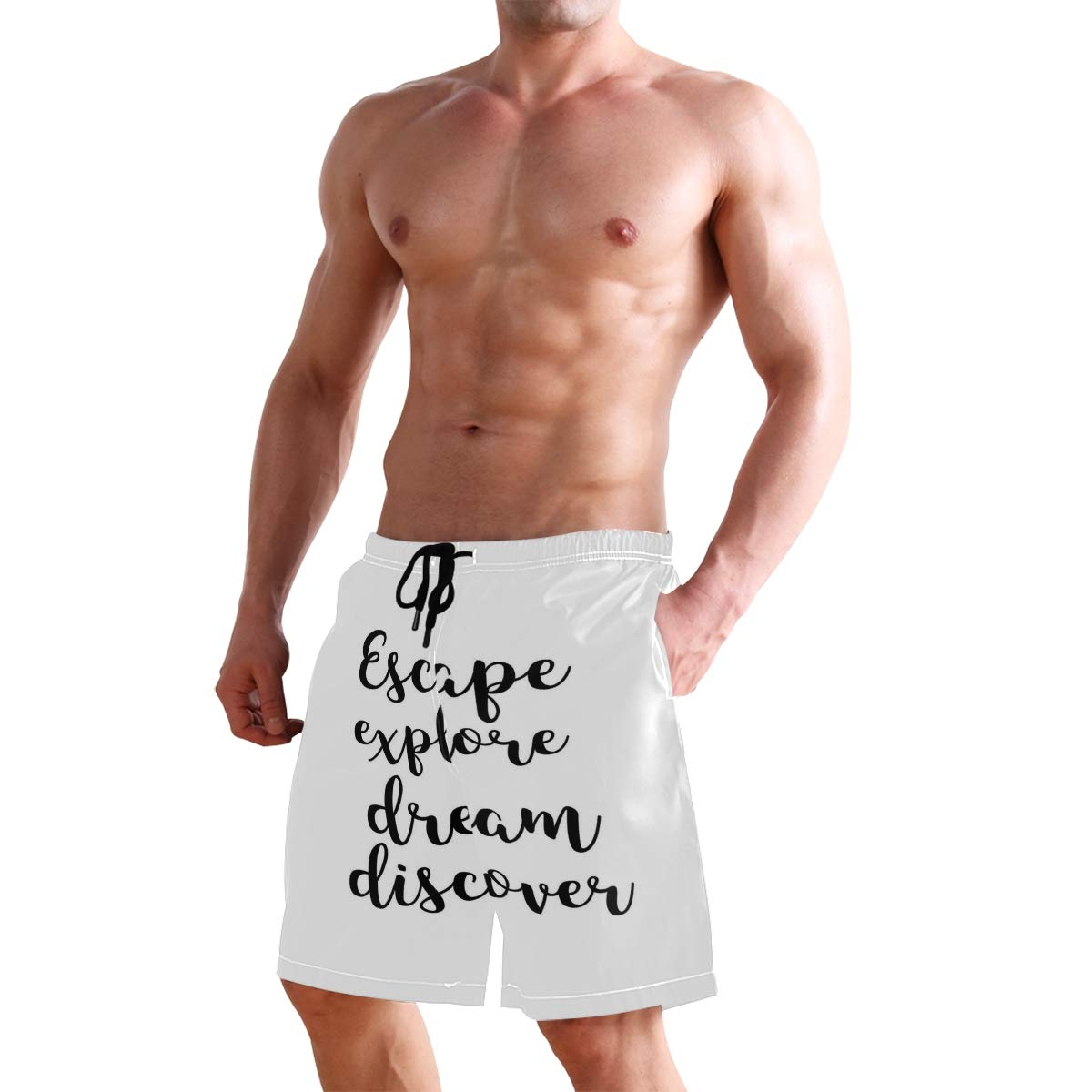 COVASA Mens Summer ShortsHand Drawn Brush Calligraphy Quote Escape Explore Dre