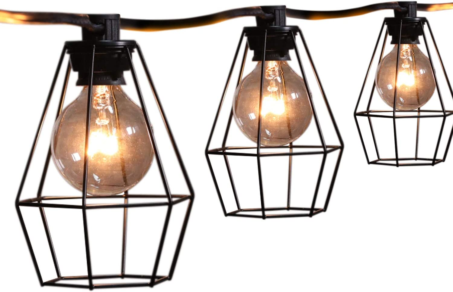 20FT Outdoor Patio String Lights with 12 Clear G40 Bulbs and 12 Vintage Metal Lamp Shades, Indoor/Outdoor Hanging Lights for Cafe Backyard Garden Porches Deck Market Pergola Garden Decor, Black