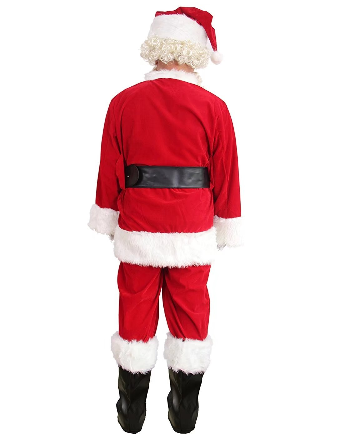 10 Pcs Complete Deluxe Velvet Christmas Santa Claus Costume Suit Adult (XL, Red) by Zollzirr (Image #4)