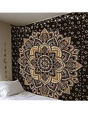 ZHH Mandala Flower Tapestry Wall Hanging Bohemian Wall Art Hippie Home Decor, Yoga Mat, Beach Towel, Picnic Mat Multifunctional Tapestries 78 x 59 Inch - Black
