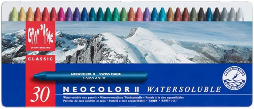 Caran Dache Neocolor II - Juego de ceras de color (30 unidades, caja metálica): Amazon.es: Oficina y papelería