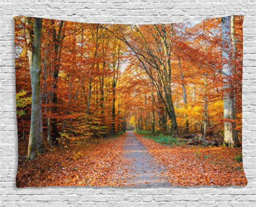 Ambesonne Fall Tapestry, Pathway Covered with Fallen Leaves Through Fall Forest Vibrant Trees Print, Wall Hanging for Bedroom Living Room Dorm, 80 W X 60 L Inches, Yellow ()