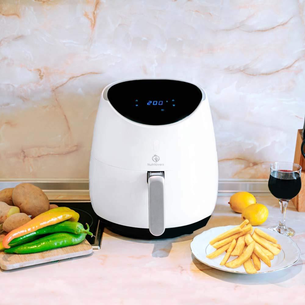 bianco frittura senza grassi 4-5 Pers - Digital con touch screen tagliapatate Friggitrice alternativa con ricette NUTRI-FRYER Friggitrice ad aria calda XXL 2000 W Airfryer 4,5 L