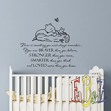 Wall Decal Winnie The Pooh Quote Always Remember You Are Braver Than You Believe Classic Pooh  sc 1 st  Amazon.com & Amazon.com: Wall Decal Winnie The Pooh Quote Always Remember You Are ...