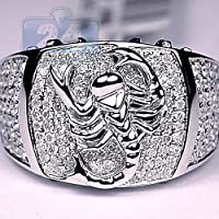 Siam panva 925 Silver White Sapphire Ring Birthstone Men Pave Scorpion Pinky Signet Jewelry (10)