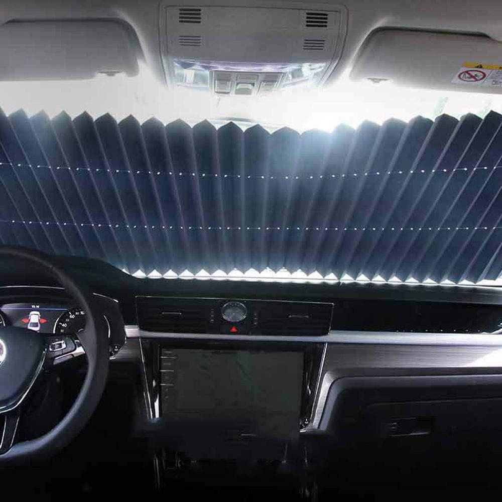 Lesgos Pare-Soleil Pare-Brise r/étractable pour Voiture Pare-Brise Pare-Brise Automatique Pare-Brise /à Protection UV /évolutive avec ventouses compatibles avec la Plupart des camions de Voiture SUV