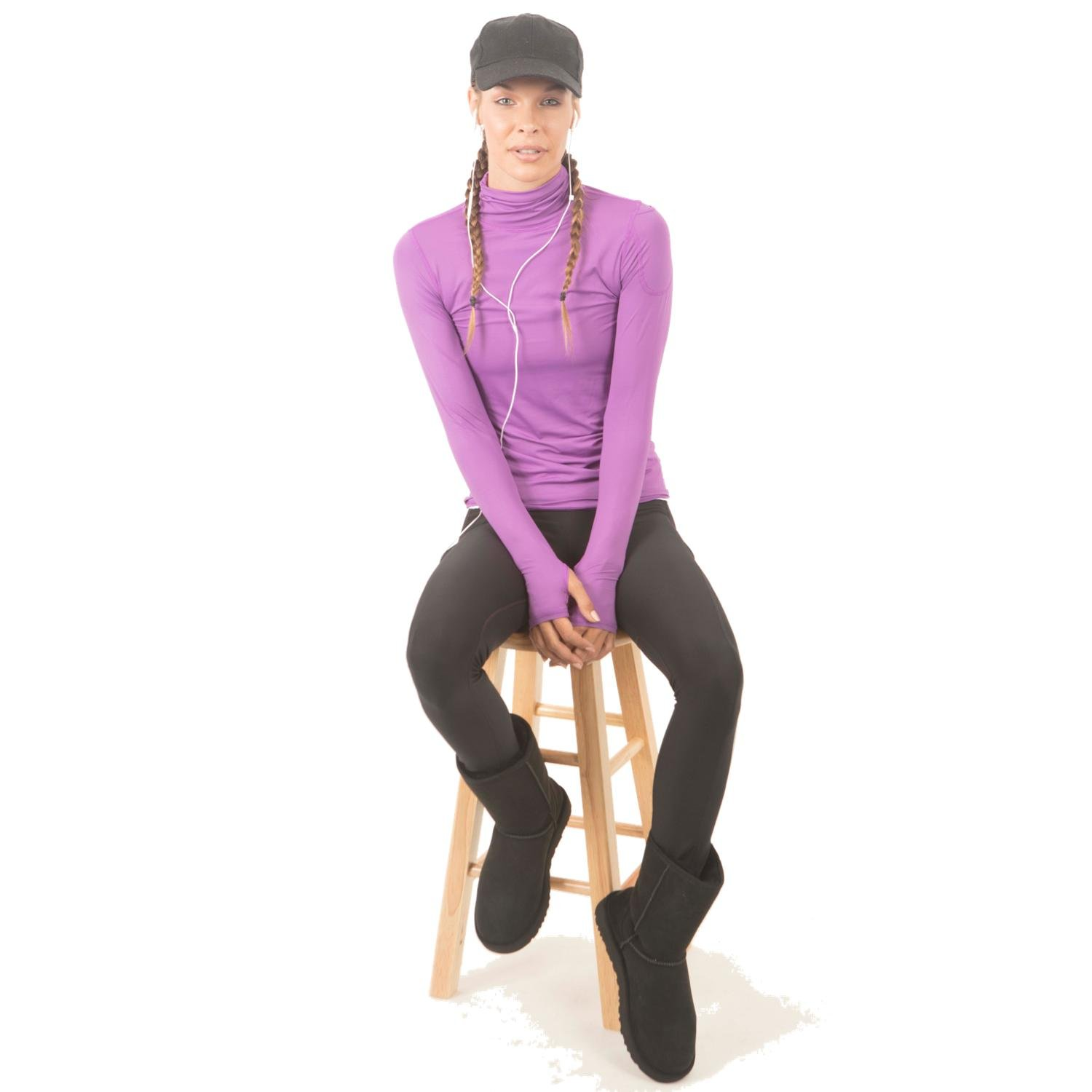 BloqUV Women's Sun-Protective Long-Sleeve Turtleneck T-Shirt, Purple (X-Small)