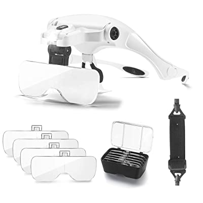 OrchidBest LED Illuminated Magnifying Glass Head-Worn Magnifying Eye Glasses Handsfree Reading Magnifier Jewelry Magnifying Loupe PCB Magnifier, Visor Glasses with 5 Lenses 1.0X,1.5X,2.0X,2.5X,3.5X: Toys & Games
