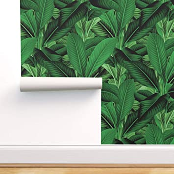Spoonflower Peel And Stick Removable Wallpaper Tropical Leaves Banana Leaf Island Jungle Botanical Green Palm Print Self Adhesive Wallpaper 12in X 24in Test Swatch Amazon Com