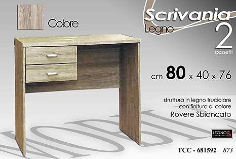 Scrivania Rovere Sbiancato.Mobile Scrivania In Legno 2 Cassetti Rovere Sbiancato 80 40 76 Cm