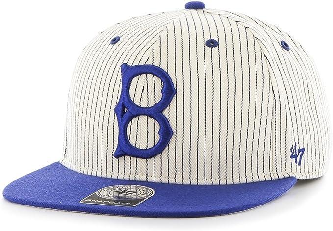Gorra plana gris snapback con rayas azules de Los Angeles Dodgers ...