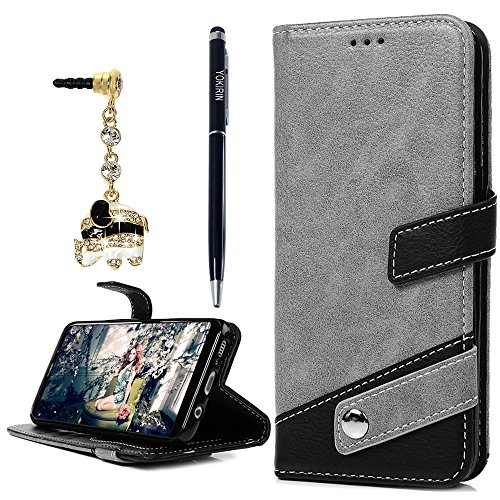 Galaxy S8 Case, Classic Pattern PU Leather Wallet Case Soft TPU Inner Card ID Holder Stand Feature Folio Flip Wrist Strap Cover for Samsung Galaxy S8 with Dust Plug & Pen by YOKIRIN, Gray & Black