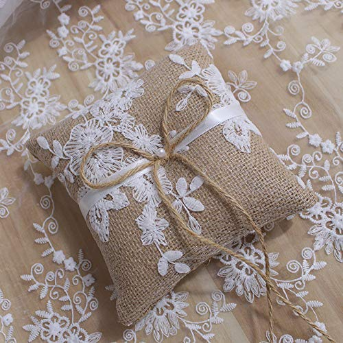 LABJULY Burlap Ring Bearer Pillow Cushion 6 Inch 15cm Rustic Vintage Country Wedding Ceremony Natural Home Decoration