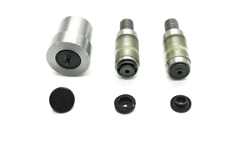 Machine presse rivet manuelle, universelle, verte et matrice pour boutons pression KAM. Tailles T3 et T5 par Trimming Shop