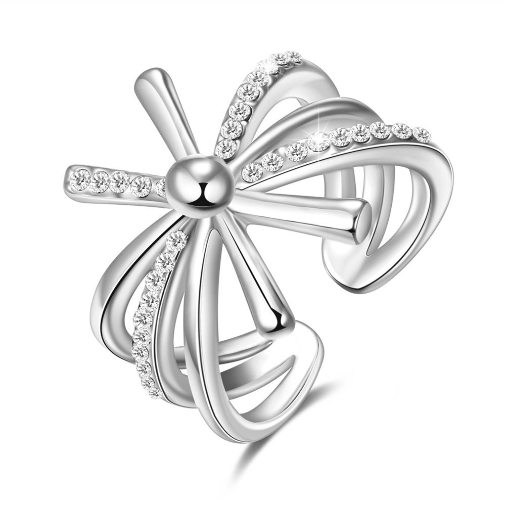 Crystal Cross Windmill Wedding Engagement Open Ring Valentines Gift 18ct Gold Plated