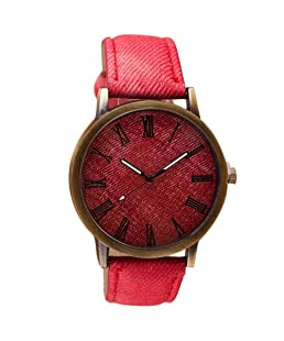 Clearance! Charberry Mens Watch Retro Vogue Cowboy Leather Band Analog Quartz Watch (Red)