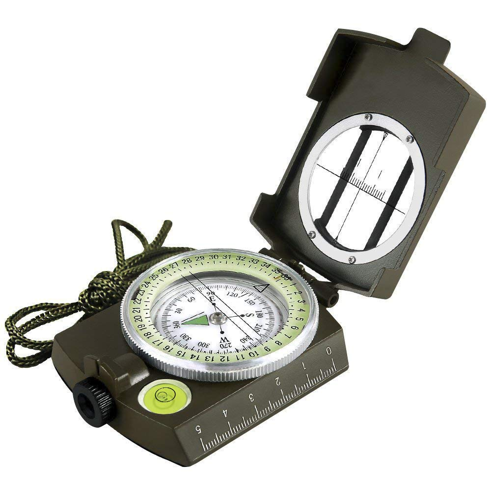 Eyeskey Multifunctional Military Army Aluminum Alloy Compass with Map Measurer Distance Calculator Great for Hiking Camping Motoring Boating Backpacking