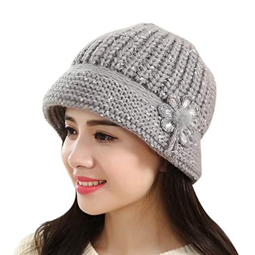 e42a62ebfb32f Amazon.com  Lywey Fashion Womens Flower Knit Crochet Beanie Hat Winter Warm  Cap Beret for Winter Christmas Lover (Gray)  Clothing