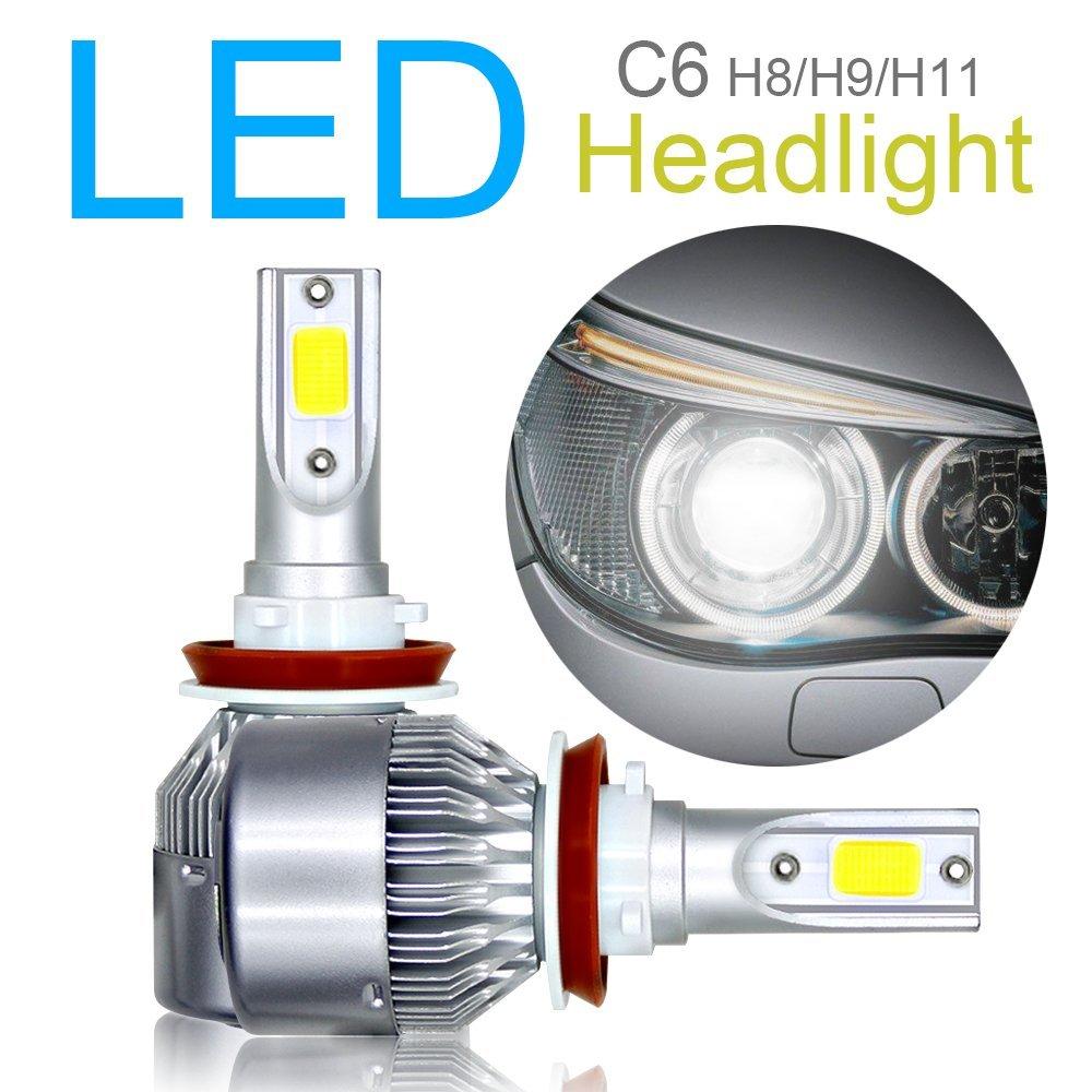 6000 K color blanco s/úper brillante haz alto//bajo//luz antiniebla Juego de 2 bombillas LED H8 // H9 // H11 para faros delanteros chip COB avanzado 120 W 10800 lm