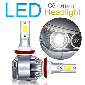 Juego de 2 bombillas LED H8 / H9 / H11 para faros delanteros, chip COB