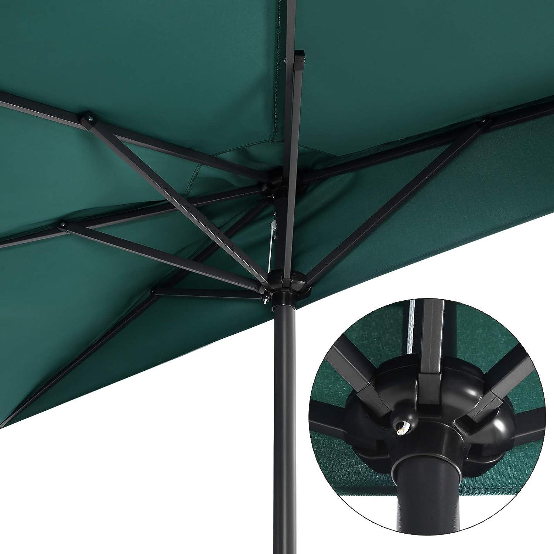 /Ø 270 cm Balkon und Terrasse Balkonschirm Marktschirm UV- Schutz UPF 50+ Taupe GPU31BR Terrassenschirm SONGMICS Sonnenschirm Gartenschirm halbrund f/ür Garten ohne St/änder