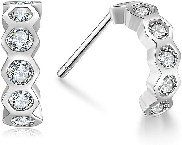 Wholesale 18K White Gold Filled Clear Cubic Zirconia Crystal Huggie Hoop Earring