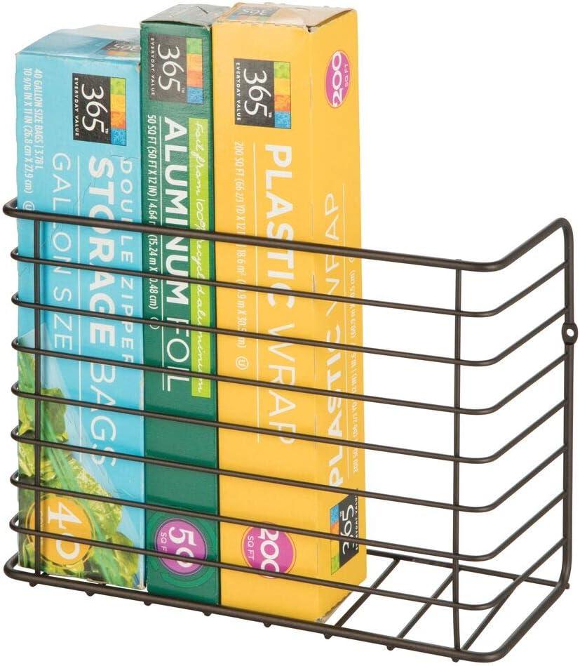 mDesign Cesta de alambre para colgar en la pared o en la puerta del armario – Estanterías metálicas resistentes – Práctico estante para cocina en metal – color bronce