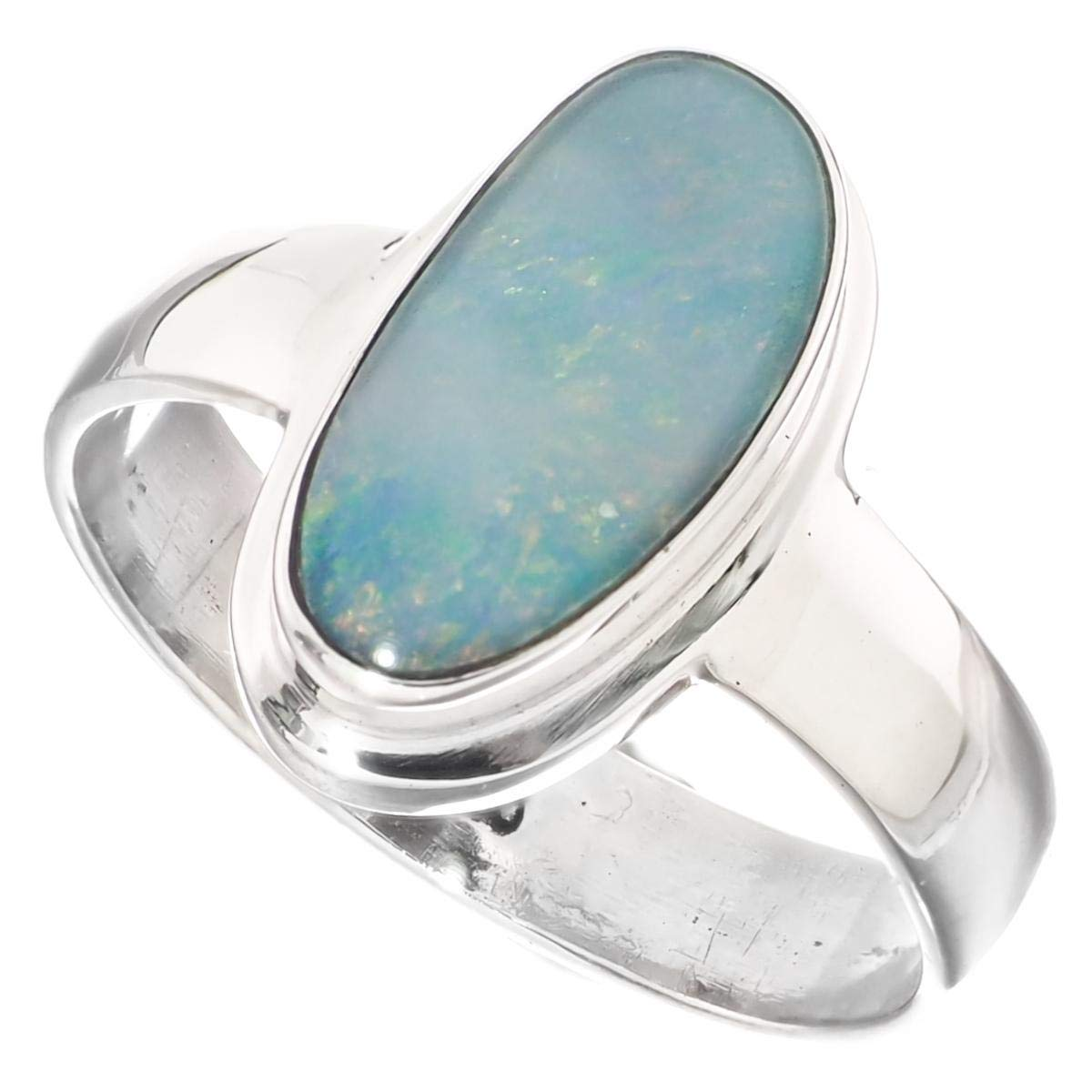 Large Natural Australian Opal 925 Sterling Silver Ring Sz 7