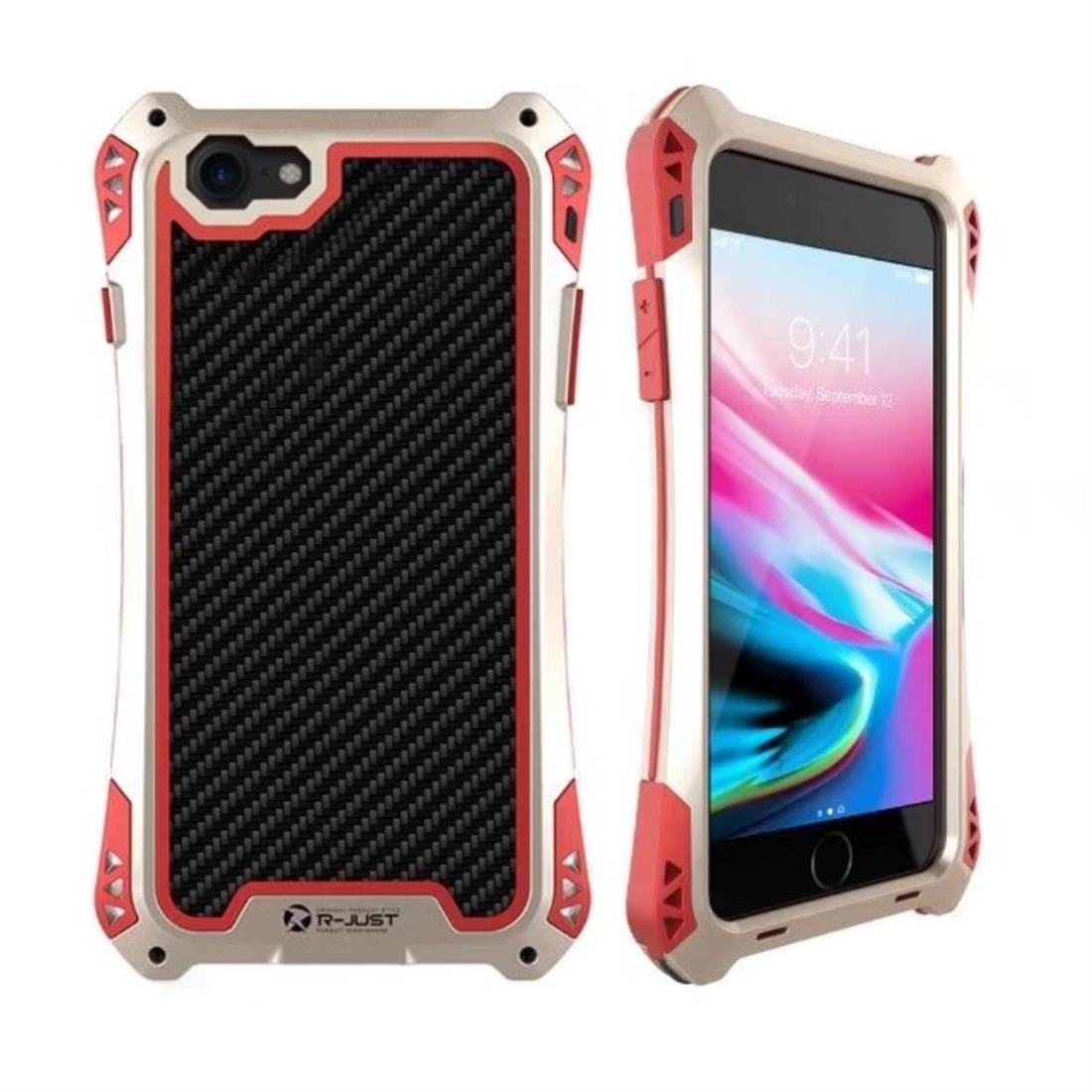 Water Resistant Metal Armor Bumper, Heavy Duty Military Shockproof Hybrid Aluminum Alloy Carbon Fiber Case Cover with Gorilla Tempered Glass for Apple (Gold&Red, for iPhone 7) by R-just