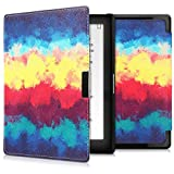 kwmobile Case for Kobo Aura Edition 1 - Book Style PU Leather Protective e-Reader Cover Folio Case - dark blue yellow red