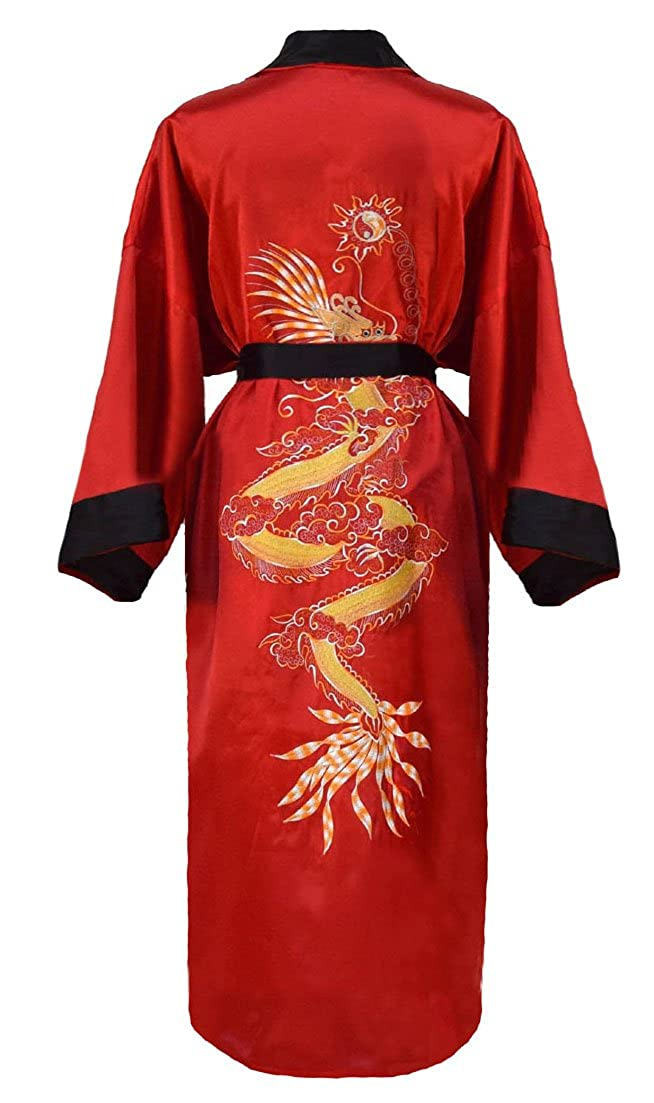 0ec3104faff267 Men's Reversible Embroidered Japanese Kimono Robe Sleepwear Dressing Gown:  Amazon.co.uk: Clothing