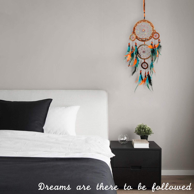 BONTHEE Traumf/änger f/ür Schlafzimmer Wanddekoration Handgemachte Traumf/änger Ornament mit Perlen und Federn