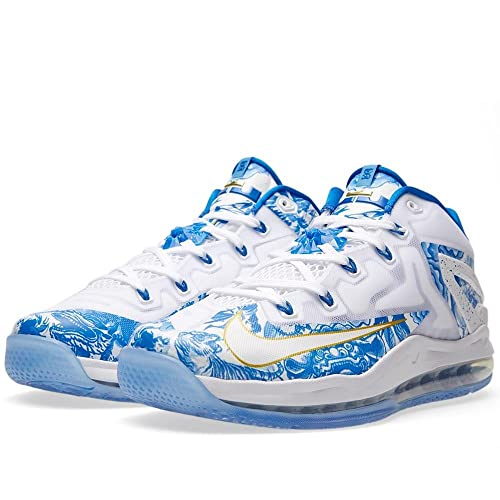 on sale 7d690 73f2d Nike Lebron Mens Max Lebron XI Low China Pack Synthetic Basketball Shoes  White White Hyper Cobalt University Blue 10 D(M) US  Amazon.in  Shoes    Handbags